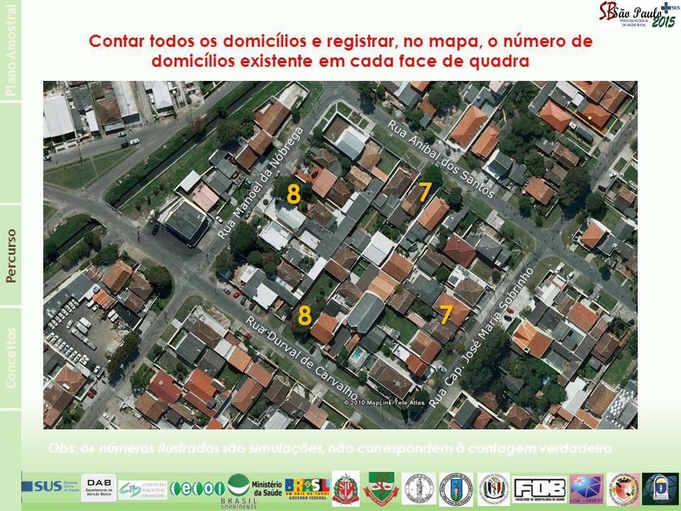 Plano Amostral Conceitos Percurso Rua Aníbal dos Santos Rua Cap. José Maria Sobrinho Rua Durval de Carvalho Rua Manoel da Nóbrega Contar todos os domi
