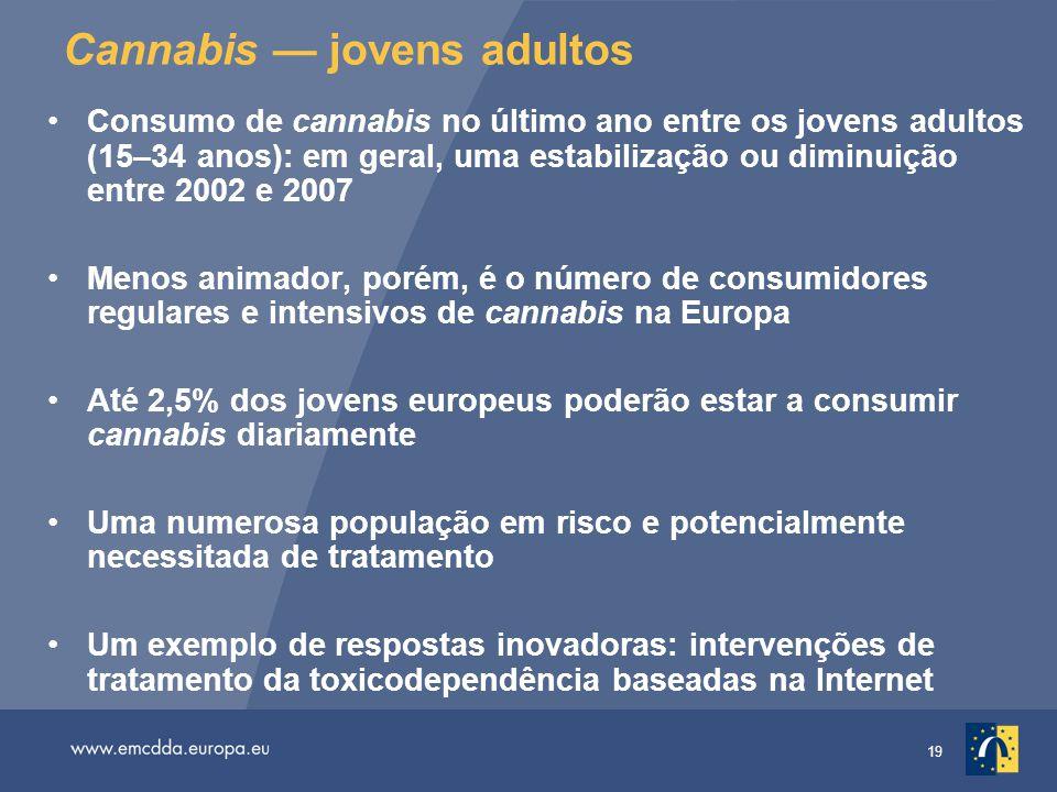 19 Cannabis — jovens adultos Consumo de cannabis no último ano entre os jovens adultos (15–34 anos): em geral, uma estabilização ou diminuição entre 2002 e 2007 Menos animador, porém, é o número de consumidores regulares e intensivos de cannabis na Europa Até 2,5% dos jovens europeus poderão estar a consumir cannabis diariamente Uma numerosa população em risco e potencialmente necessitada de tratamento Um exemplo de respostas inovadoras: intervenções de tratamento da toxicodependência baseadas na Internet