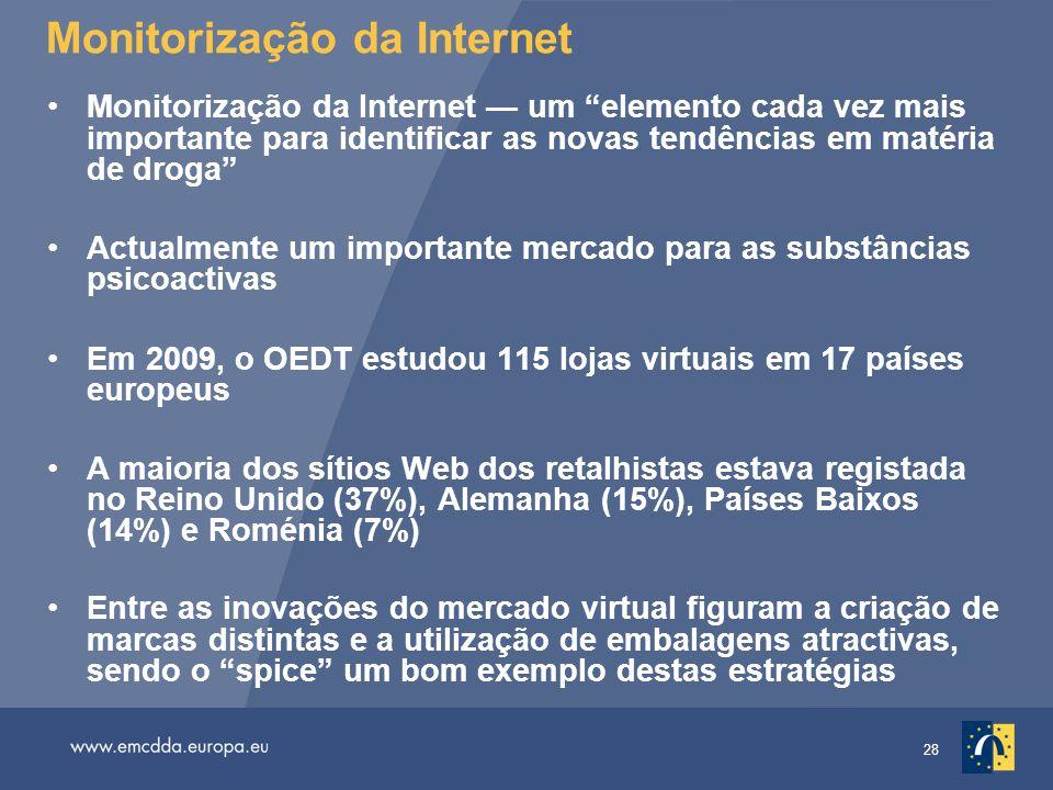 28 Monitorização da Internet Monitorização da Internet — um elemento cada vez mais importante para identificar as novas tendências em matéria de droga Actualmente um importante mercado para as substâncias psicoactivas Em 2009, o OEDT estudou 115 lojas virtuais em 17 países europeus A maioria dos sítios Web dos retalhistas estava registada no Reino Unido (37%), Alemanha (15%), Países Baixos (14%) e Roménia (7%) Entre as inovações do mercado virtual figuram a criação de marcas distintas e a utilização de embalagens atractivas, sendo o spice um bom exemplo destas estratégias