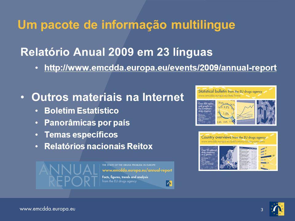 3 Um pacote de informação multilingue Relatório Anual 2009 em 23 línguas http://www.emcdda.europa.eu/events/2009/annual-report Outros materiais na Internet Boletim Estatístico Panorâmicas por país Temas específicos Relatórios nacionais Reitox