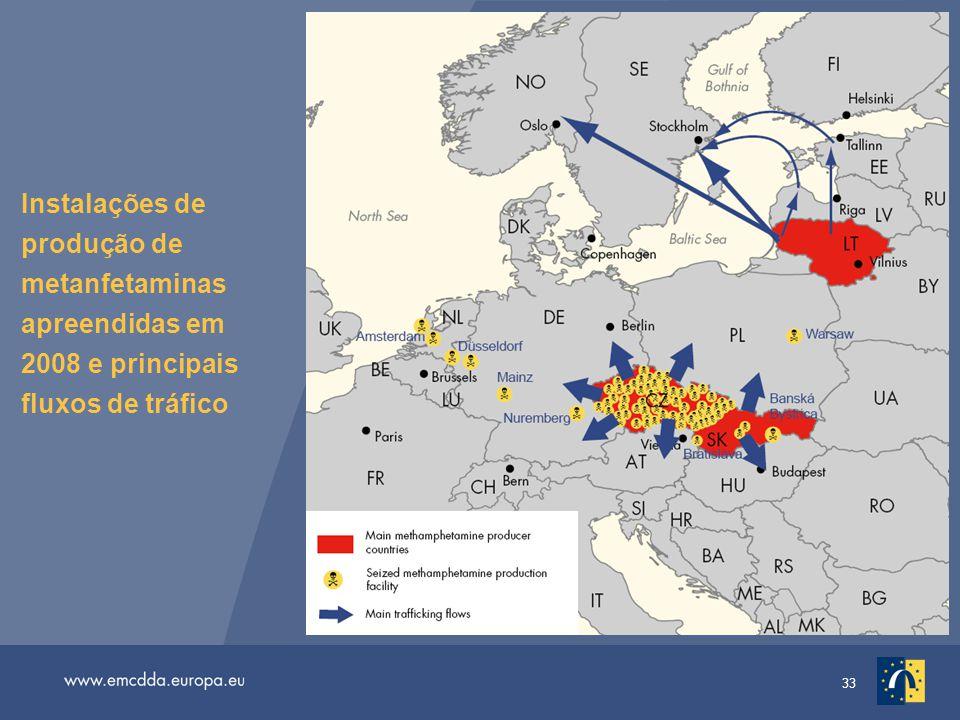 33 Instalações de produção de metanfetaminas apreendidas em 2008 e principais fluxos de tráfico