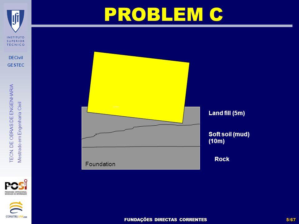 DECivil GESTEC 5/67 TECN. DE OBRAS DE ENGENHARIA Mestrado em Engenharia Civil Foundation FUNDAÇÕES DIRECTAS CORRENTES Land fill (5m) Soft soil (mud) (