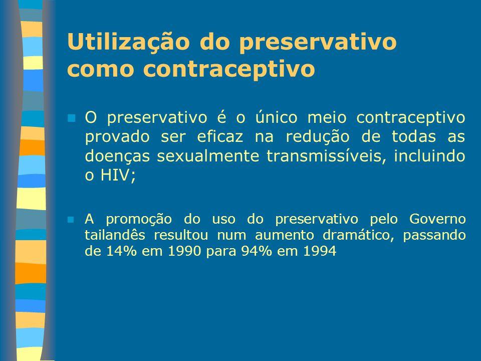 Utilização do preservativo como contraceptivo O preservativo é o único meio contraceptivo provado ser eficaz na redução de todas as doenças sexualment