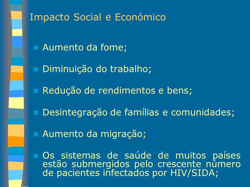 Impacto Social e Económico Aumento da fome; Diminuição do trabalho; Redução de rendimentos e bens; Desintegração de famílias e comunidades; Aumento da