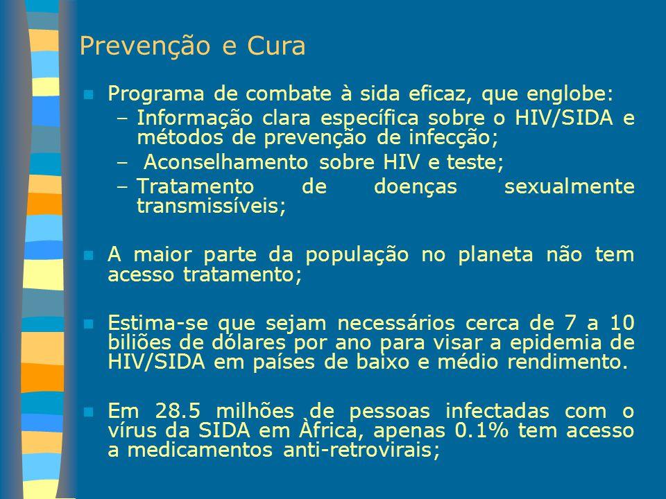 Prevenção e Cura Programa de combate à sida eficaz, que englobe: –Informação clara específica sobre o HIV/SIDA e métodos de prevenção de infecção; – A