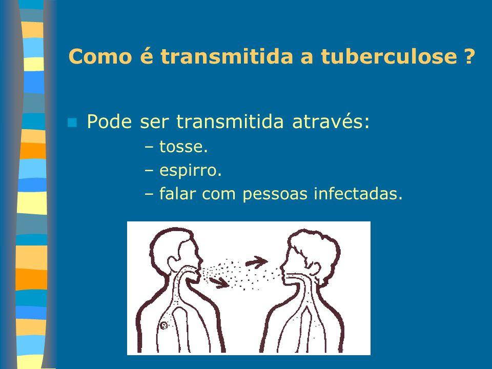 Como é transmitida a tuberculose ? Pode ser transmitida através: –tosse. –espirro. –falar com pessoas infectadas.