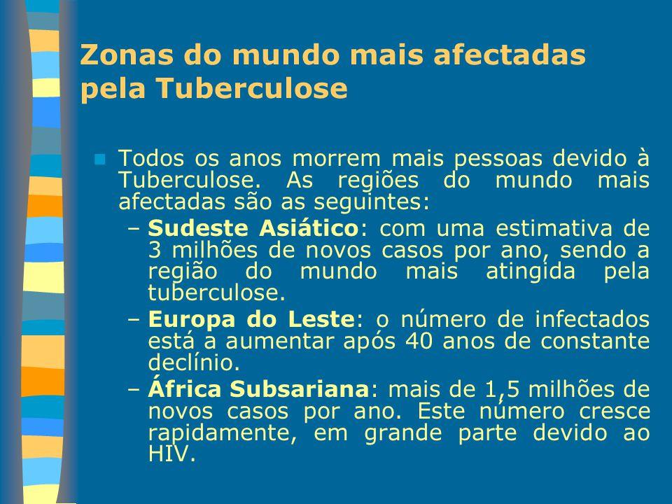 Zonas do mundo mais afectadas pela Tuberculose Todos os anos morrem mais pessoas devido à Tuberculose. As regiões do mundo mais afectadas são as segui
