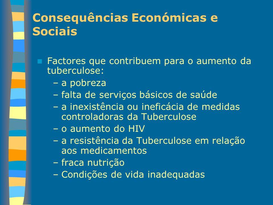 Consequências Económicas e Sociais Factores que contribuem para o aumento da tuberculose: –a pobreza –falta de serviços básicos de saúde –a inexistênc