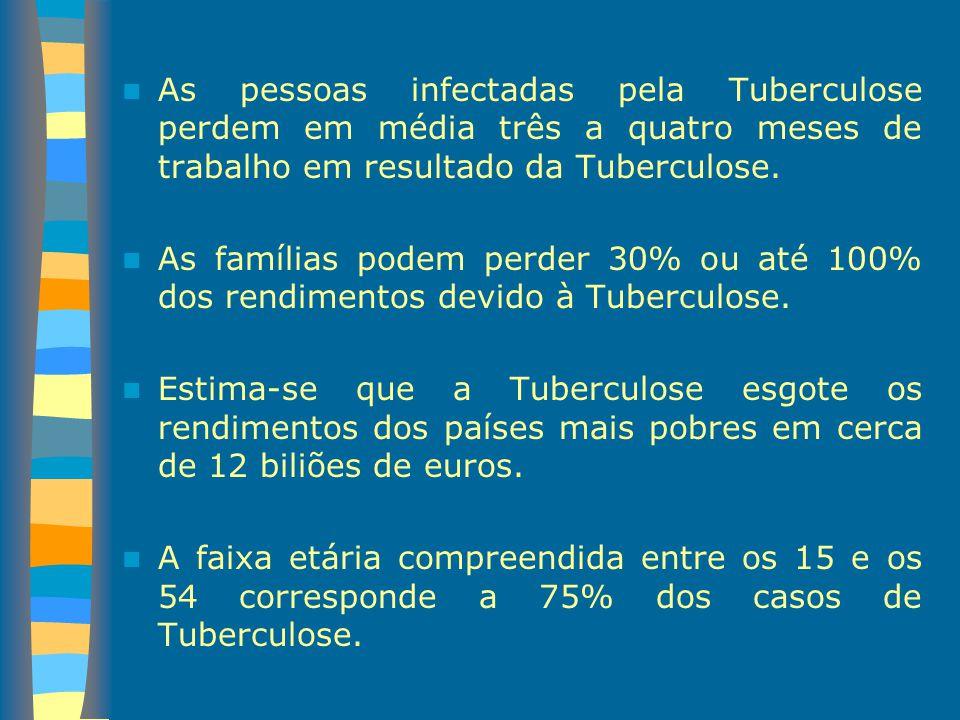 As pessoas infectadas pela Tuberculose perdem em média três a quatro meses de trabalho em resultado da Tuberculose. As famílias podem perder 30% ou at