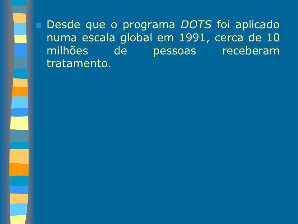 Desde que o programa DOTS foi aplicado numa escala global em 1991, cerca de 10 milhões de pessoas receberam tratamento.