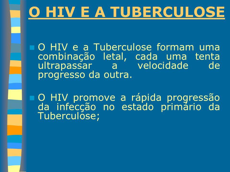 O HIV E A TUBERCULOSE O HIV e a Tuberculose formam uma combinação letal, cada uma tenta ultrapassar a velocidade de progresso da outra. O HIV promove