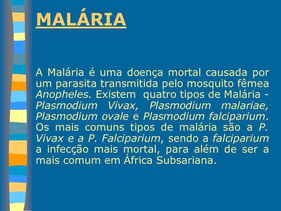 MALÁRIA A Malária é uma doença mortal causada por um parasita transmitida pelo mosquito fêmea Anopheles. Existem quatro tipos de Malária - Plasmodium
