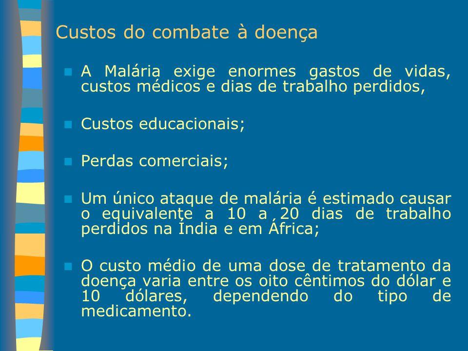 Custos do combate à doença A Malária exige enormes gastos de vidas, custos médicos e dias de trabalho perdidos, Custos educacionais; Perdas comerciais