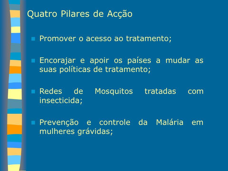 Quatro Pilares de Acção Promover o acesso ao tratamento; Encorajar e apoir os países a mudar as suas políticas de tratamento; Redes de Mosquitos trata