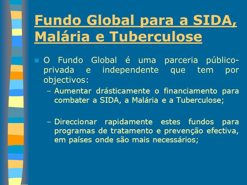 Fundo Global para a SIDA, Malária e Tuberculose O Fundo Global é uma parceria público- privada e independente que tem por objectivos: –Aumentar drásti