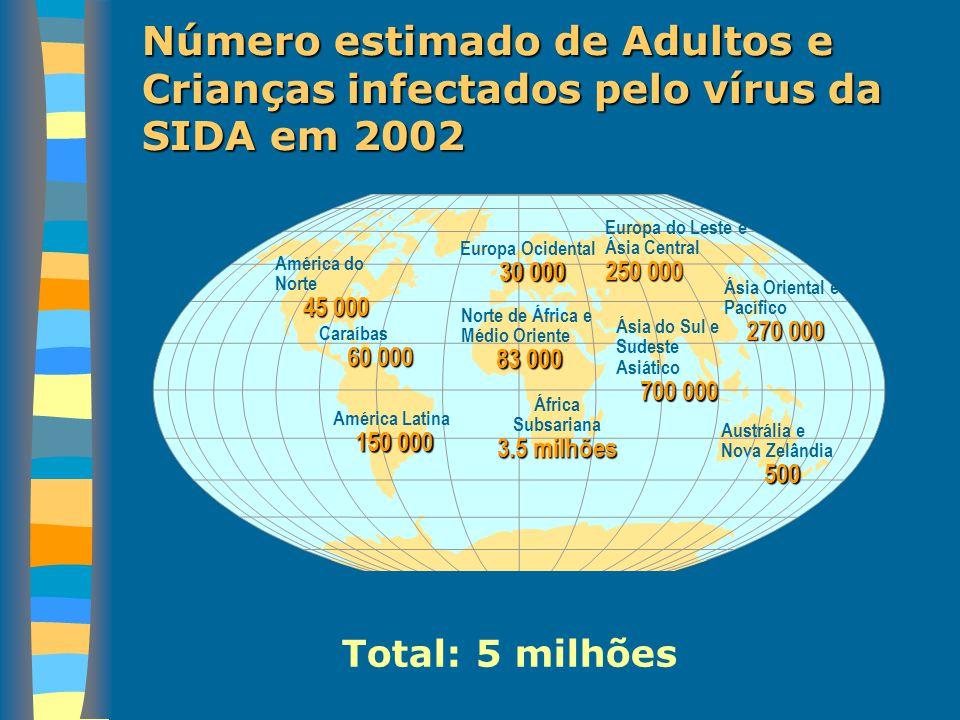 Nº de mortes estimadas de adultos e crianças infectados por HIV/SIDA durante 2002 Total: 3.1 milhões Europa Ocidental 8 000 Norte de África e Médio Orinte 37 000 África Subsariana 2.4 milhões Europa do Leste e Ásia Central 25 000 Ásia Oriental e Pacífico 45 000 Ásia do Sul e Sudeste Asiático 440 000 Austrália e Nova Zelândia<100 América do Norte 15 000 Caraíbas 42 000 América Latina 60 000