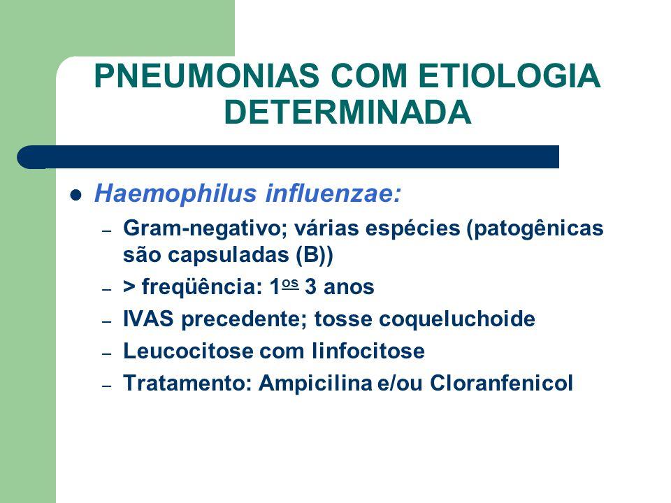 PNEUMONIAS COM ETIOLOGIA DETERMINADA Haemophilus influenzae: – Gram-negativo; várias espécies (patogênicas são capsuladas (B)) – > freqüência: 1 os 3 anos – IVAS precedente; tosse coqueluchoide – Leucocitose com linfocitose – Tratamento: Ampicilina e/ou Cloranfenicol