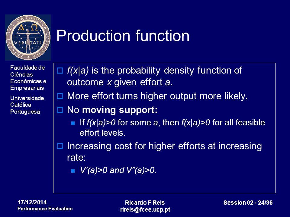 Faculdade de Ciências Económicas e Empresariais Universidade Católica Portuguesa Ricardo F Reis rireis@fcee.ucp.pt Session 02 - 24/36 17/12/2014 Performance Evaluation Production function  f(x|a) is the probability density function of outcome x given effort a.