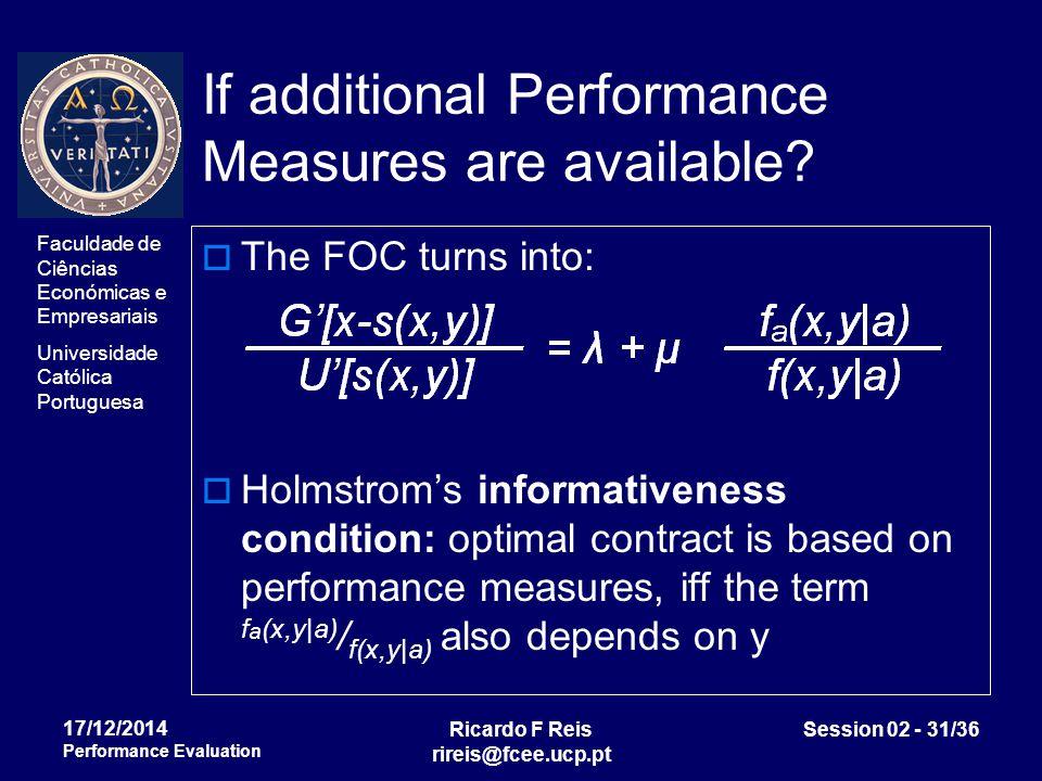 Faculdade de Ciências Económicas e Empresariais Universidade Católica Portuguesa Ricardo F Reis rireis@fcee.ucp.pt Session 02 - 31/36 17/12/2014 Performance Evaluation If additional Performance Measures are available.