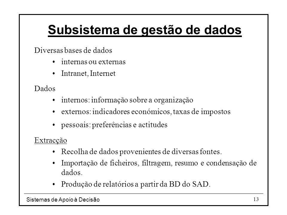 Sistemas de Apoio à Decisão 13 Subsistema de gestão de dados Diversas bases de dados internas ou externas Intranet, Internet Dados internos: informaçã