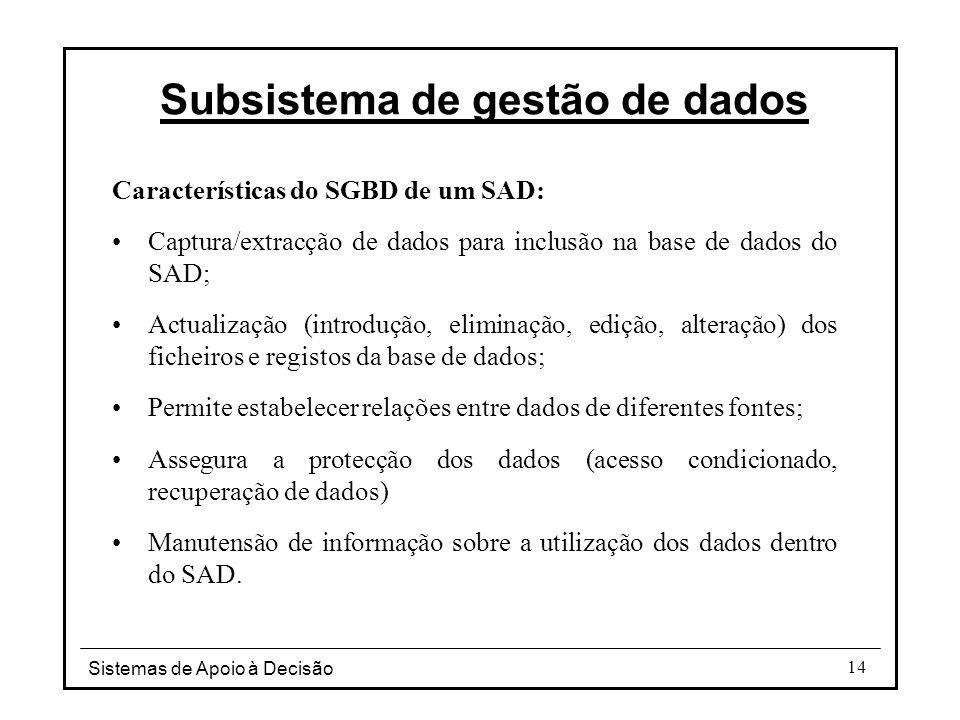 Sistemas de Apoio à Decisão 14 Subsistema de gestão de dados Características do SGBD de um SAD: Captura/extracção de dados para inclusão na base de da