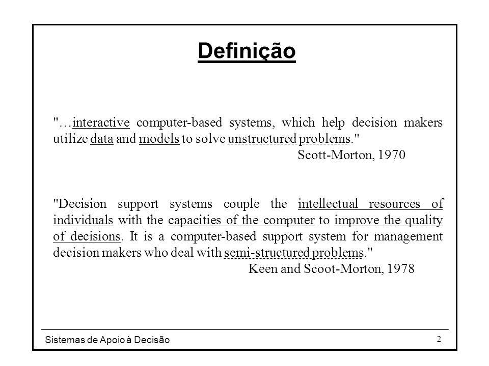 Sistemas de Apoio à Decisão 63 Modelo de dados multidimensional Subsistema de gestão de dados Prod _nº Prod_nome Prod_descr Prod_line PRODUTO TRIM_FISCAL REGIÃO Trim_fiscal Ano Data_ini Data_fim Região_cod Região_nome TABELA DE DE DIMENSÃO PRODUTO TABELA DE DE FACTOS RESULTADOS TABELA DE DE DIMENSÃO TRIMESTRE FISCAL TABELA DE DE DIMENSÃO REGIÃO