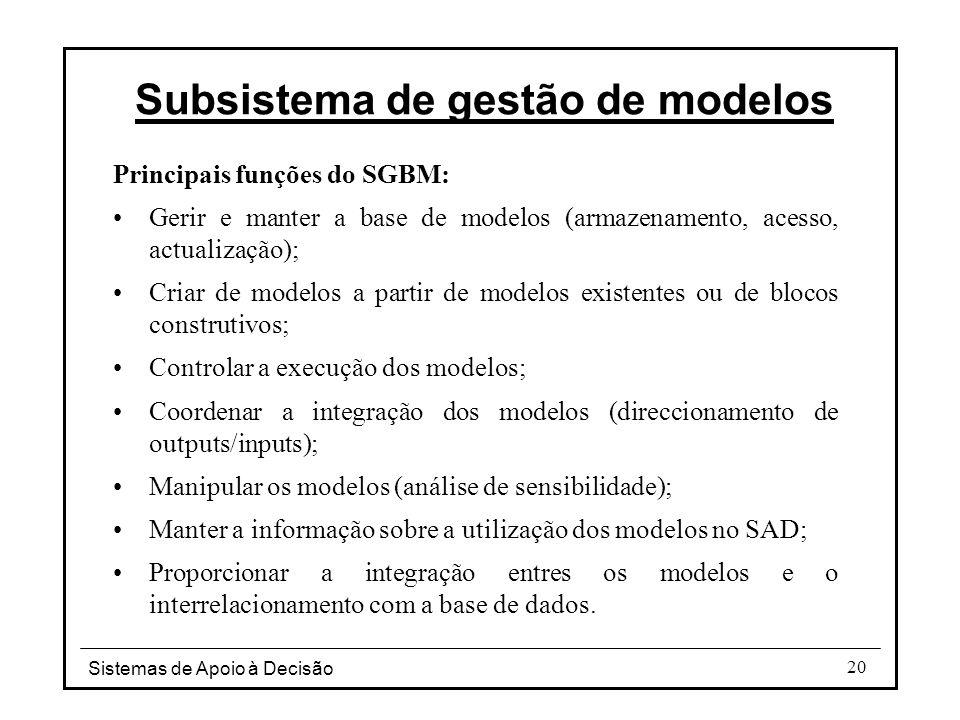 Sistemas de Apoio à Decisão 20 Subsistema de gestão de modelos Principais funções do SGBM: Gerir e manter a base de modelos (armazenamento, acesso, ac