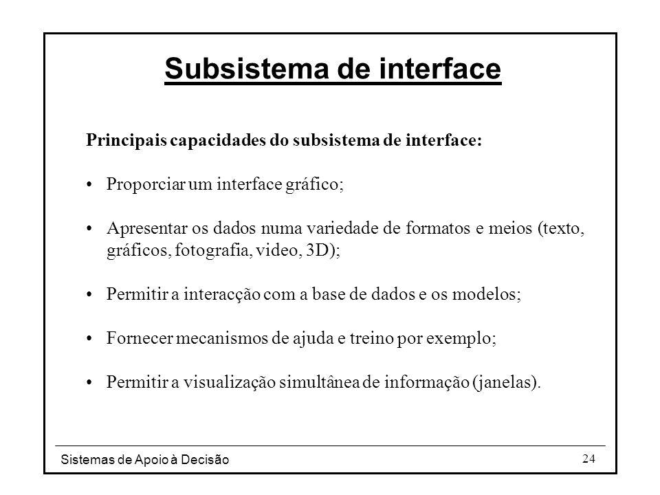 Sistemas de Apoio à Decisão 24 Principais capacidades do subsistema de interface: Proporciar um interface gráfico; Apresentar os dados numa variedade