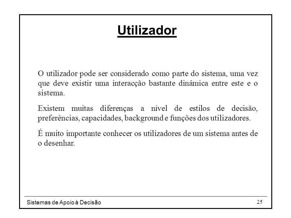 Sistemas de Apoio à Decisão 25 O utilizador pode ser considerado como parte do sistema, uma vez que deve existir uma interacção bastante dinâmica entr