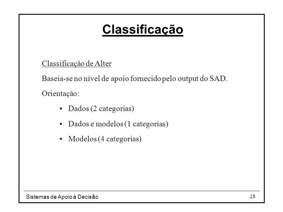 Sistemas de Apoio à Decisão 28 Classificação de Alter Baseia-se no nível de apoio fornecido pelo output do SAD. Orientação: Dados (2 categorias) Dados