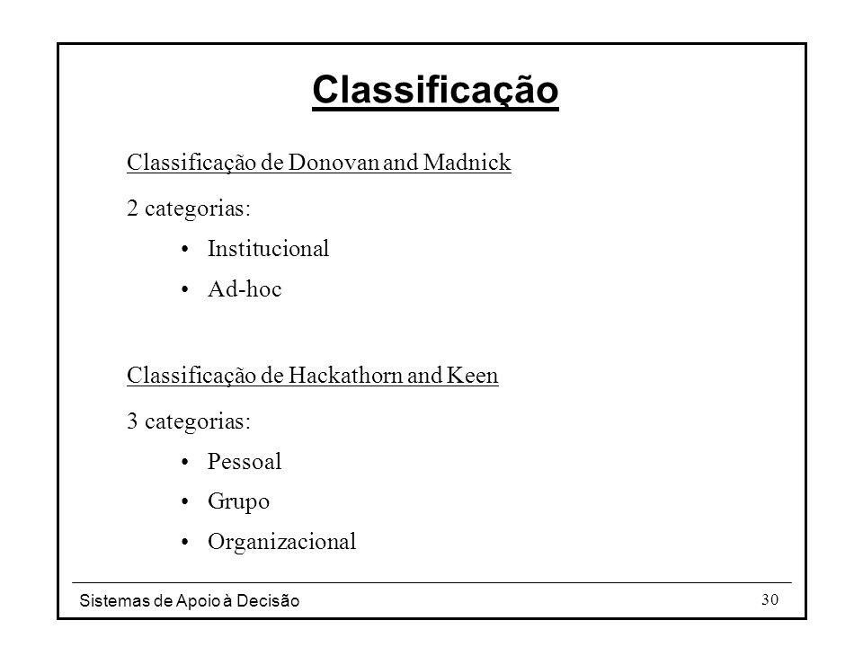 Sistemas de Apoio à Decisão 30 Classificação de Donovan and Madnick 2 categorias: Institucional Ad-hoc Classificação de Hackathorn and Keen 3 categori
