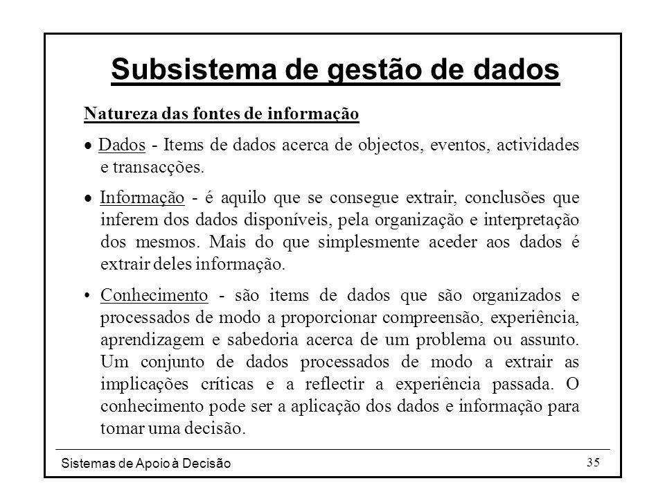 Sistemas de Apoio à Decisão 35 Natureza das fontes de informação  Dados - Items de dados acerca de objectos, eventos, actividades e transacções.  In