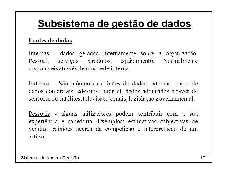 Sistemas de Apoio à Decisão 37 Fontes de dados Internas - dados gerados internamente sobre a organização. Pessoal, serviços, produtos, equipamento. No