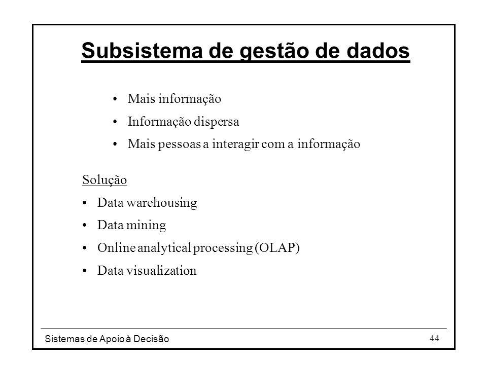 Sistemas de Apoio à Decisão 44 Mais informação Informação dispersa Mais pessoas a interagir com a informação Solução Data warehousing Data mining Onli