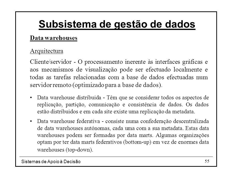 Sistemas de Apoio à Decisão 55 Data warehouses Arquitectura Cliente/servidor - O processamento inerente às interfaces gráficas e aos mecanismos de vis