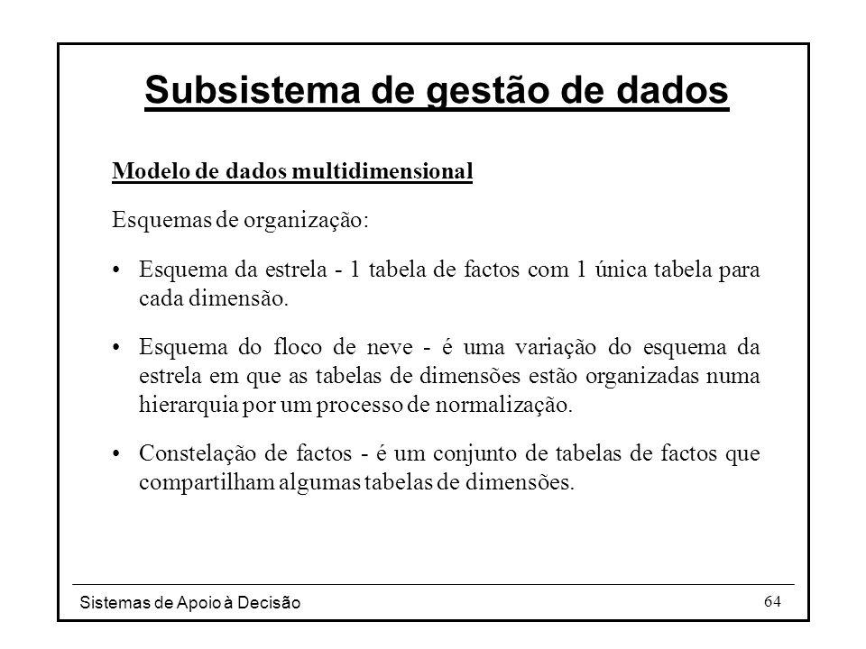 Sistemas de Apoio à Decisão 64 Modelo de dados multidimensional Esquemas de organização: Esquema da estrela - 1 tabela de factos com 1 única tabela pa