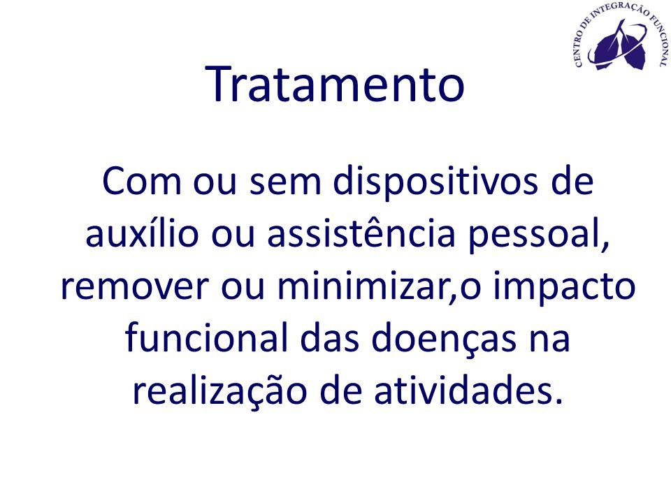Tratamento Com ou sem dispositivos de auxílio ou assistência pessoal, remover ou minimizar,o impacto funcional das doenças na realização de atividades.
