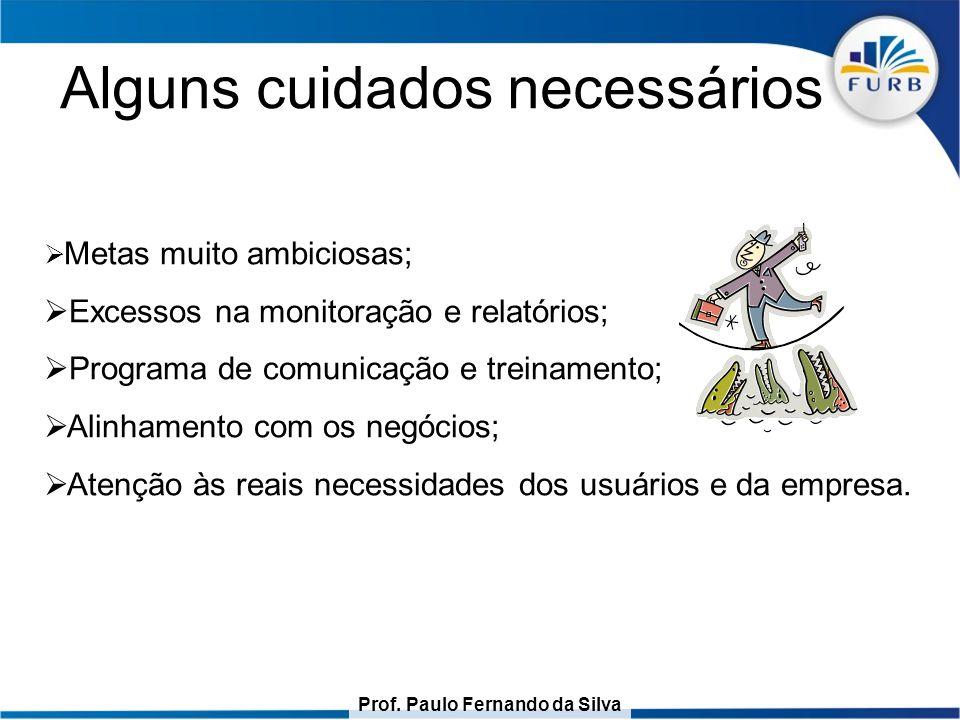 Prof. Paulo Fernando da Silva Alguns cuidados necessários  Metas muito ambiciosas;  Excessos na monitoração e relatórios;  Programa de comunicação
