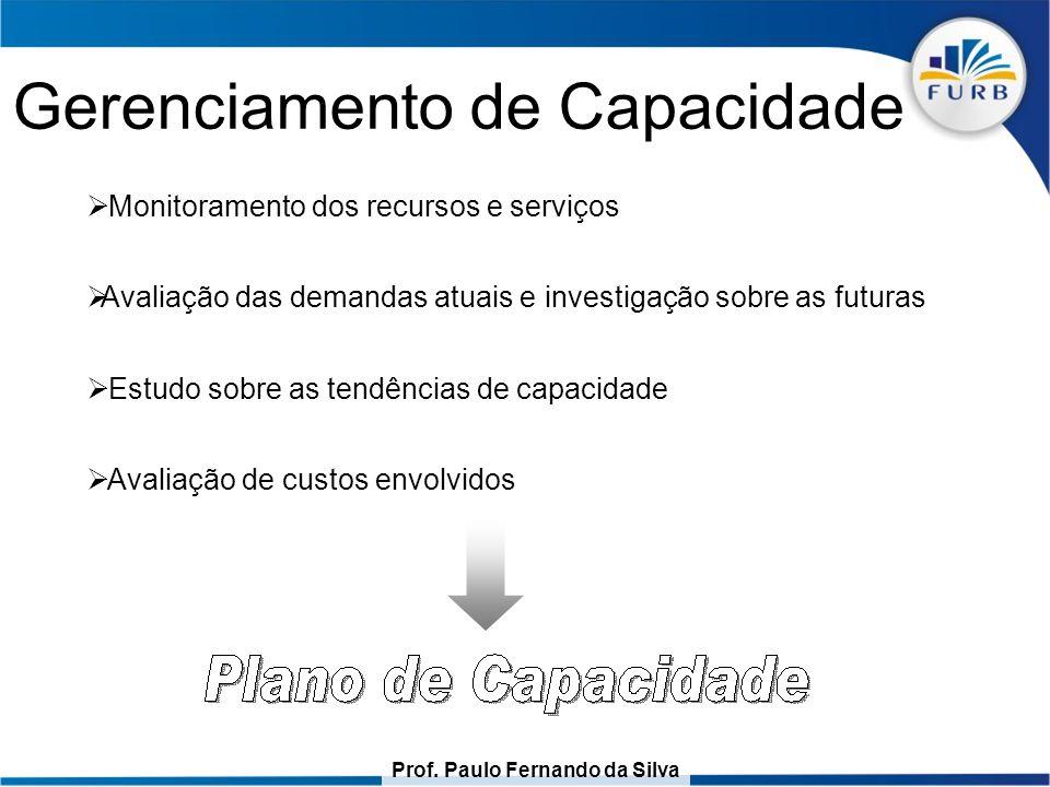 Prof. Paulo Fernando da Silva Gerenciamento de Capacidade  Monitoramento dos recursos e serviços  Avaliação das demandas atuais e investigação sobre