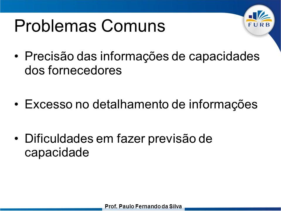 Prof. Paulo Fernando da Silva Problemas Comuns Precisão das informações de capacidades dos fornecedores Excesso no detalhamento de informações Dificul