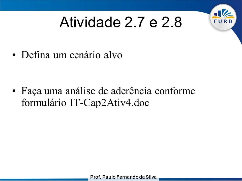Prof. Paulo Fernando da Silva Atividade 2.7 e 2.8 Defina um cenário alvo Faça uma análise de aderência conforme formulário IT-Cap2Ativ4.doc