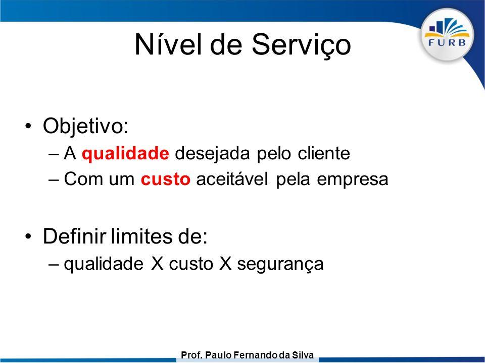 Prof. Paulo Fernando da Silva Nível de Serviço Objetivo: –A qualidade desejada pelo cliente –Com um custo aceitável pela empresa Definir limites de: –