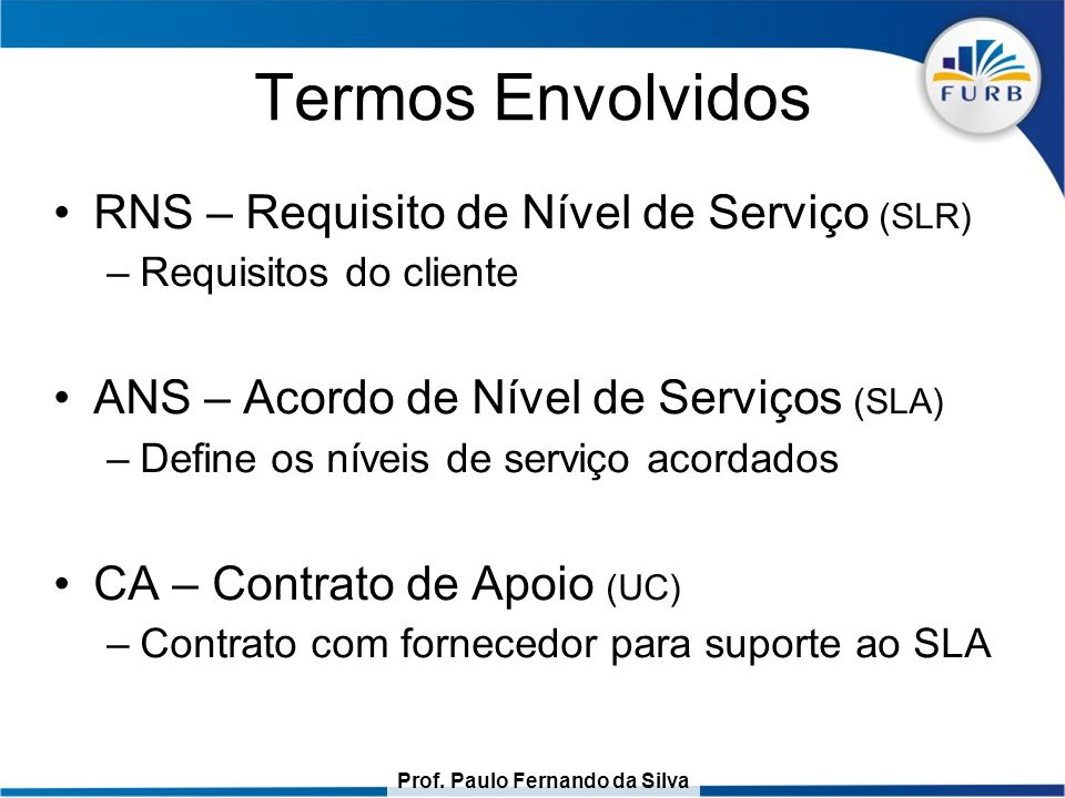 Prof. Paulo Fernando da Silva Termos Envolvidos RNS – Requisito de Nível de Serviço (SLR) –Requisitos do cliente ANS – Acordo de Nível de Serviços (SL