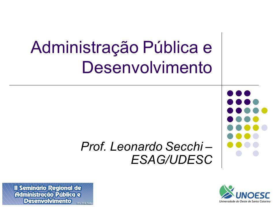 Administração Pública e Desenvolvimento Prof. Leonardo Secchi – ESAG/UDESC