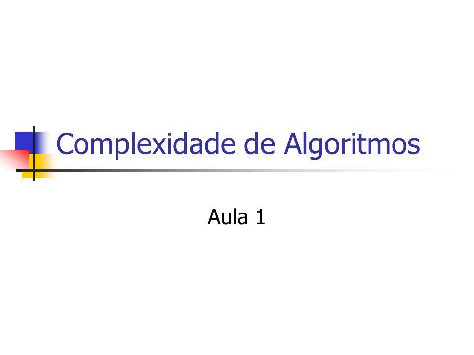 Complexidade de Algoritmos Aula 1