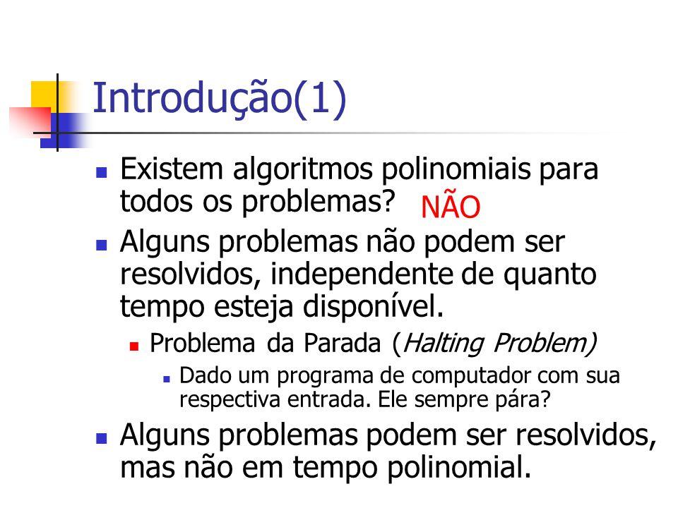 Introdução(1) Existem algoritmos polinomiais para todos os problemas? Alguns problemas não podem ser resolvidos, independente de quanto tempo esteja d