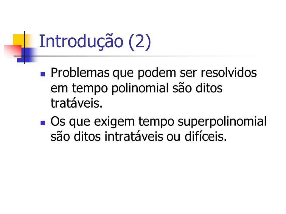Introdução (2) Problemas que podem ser resolvidos em tempo polinomial são ditos tratáveis. Os que exigem tempo superpolinomial são ditos intratáveis o
