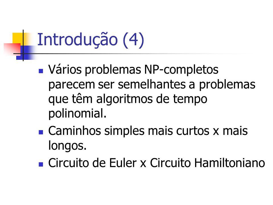 Introdução (4) Vários problemas NP-completos parecem ser semelhantes a problemas que têm algoritmos de tempo polinomial. Caminhos simples mais curtos