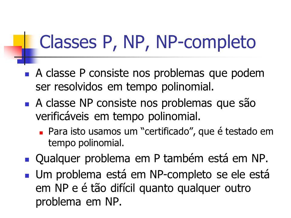 Classes P, NP, NP-completo A classe P consiste nos problemas que podem ser resolvidos em tempo polinomial. A classe NP consiste nos problemas que são