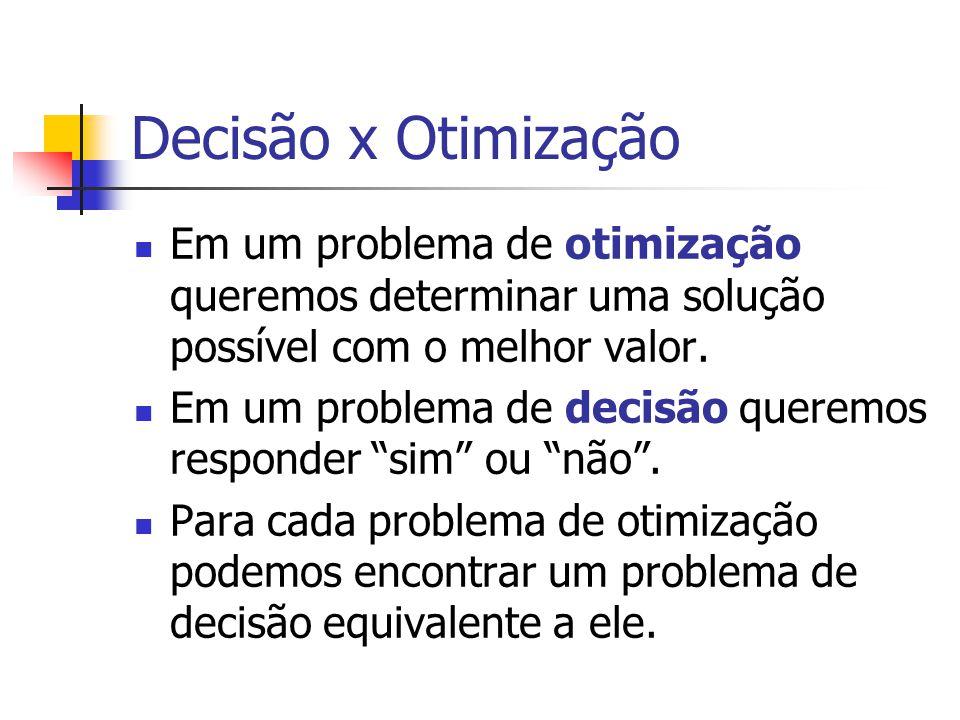 Decisão x Otimização Em um problema de otimização queremos determinar uma solução possível com o melhor valor. Em um problema de decisão queremos resp